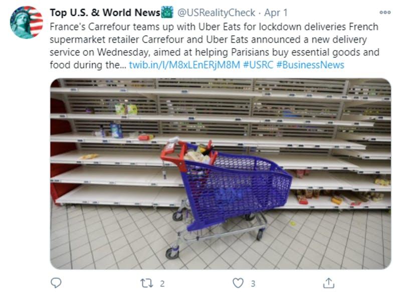 フランスのスーパーマーケットの品薄状態を紹介しているTwitterの投稿
