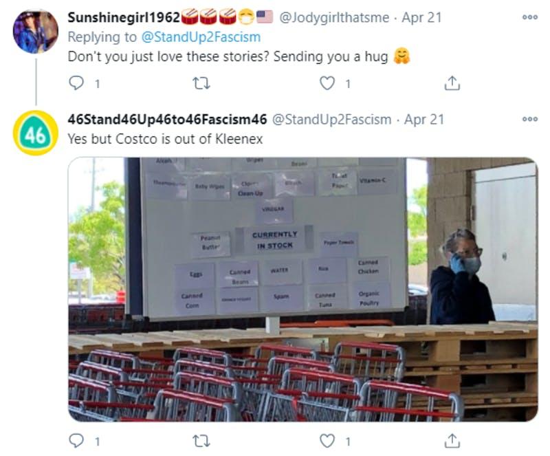 アメリカの日用品販売店の品薄状態を紹介しているTwitterの投稿