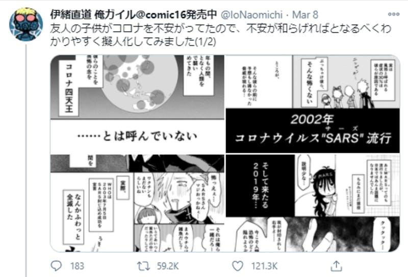 Twitterに投稿された、コロナウイルスを擬人化した漫画