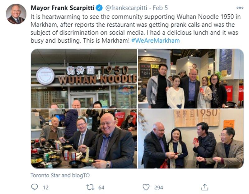 カナダのオンタリオ州マーカム市市長によるTwitter投稿