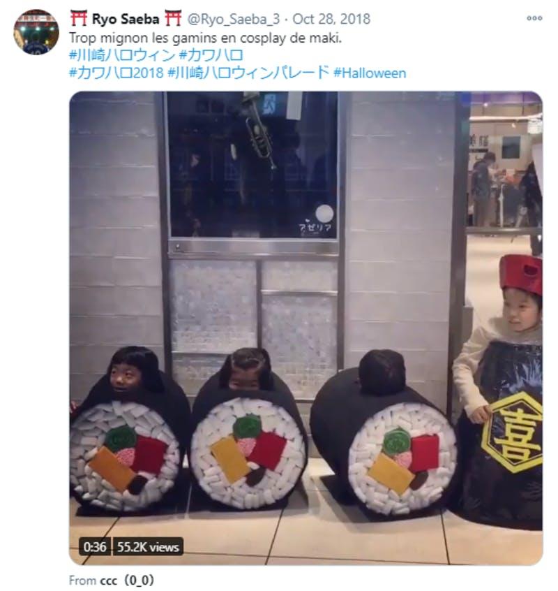 Twitterに投稿された川崎でのハロウィンイベントに関する英語のコメント