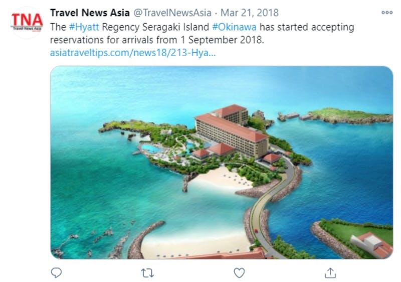 Twitterに投稿された、ハイアット瀬良垣の予約開始に関するニュース