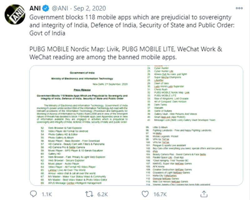 インドにおける中国製アプリ規制に関するTwitter投稿