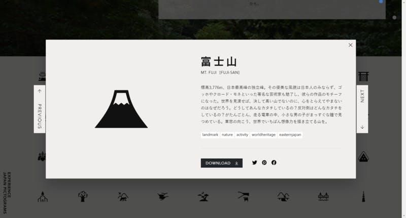 ▲富士山のピクトグラム:EXPERIENCE JAPAN PICTOGRAMS
