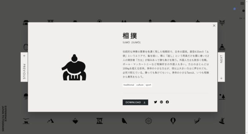 ▲伏見稲荷大社のピクトグラム:EXPERIENCE JAPAN PICTOGRAMS