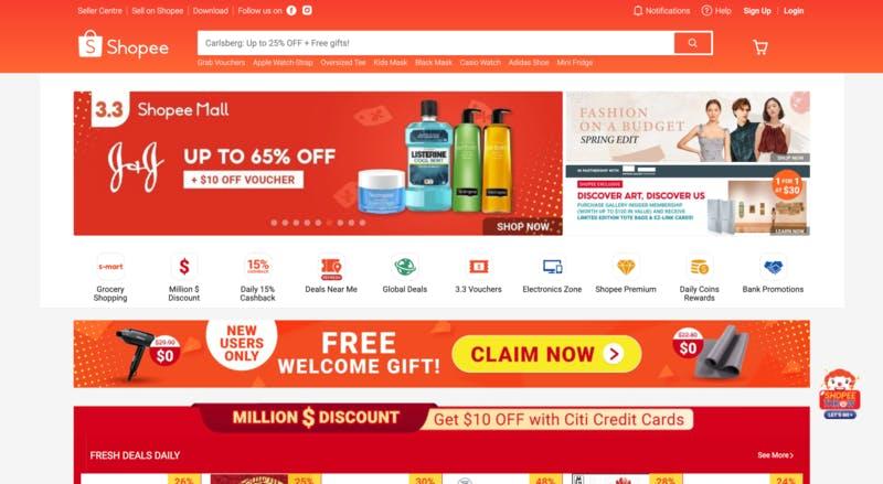 ▲[Shopee シンガポール 公式ウェブサイト]:訪日ラボ編集部キャプチャ