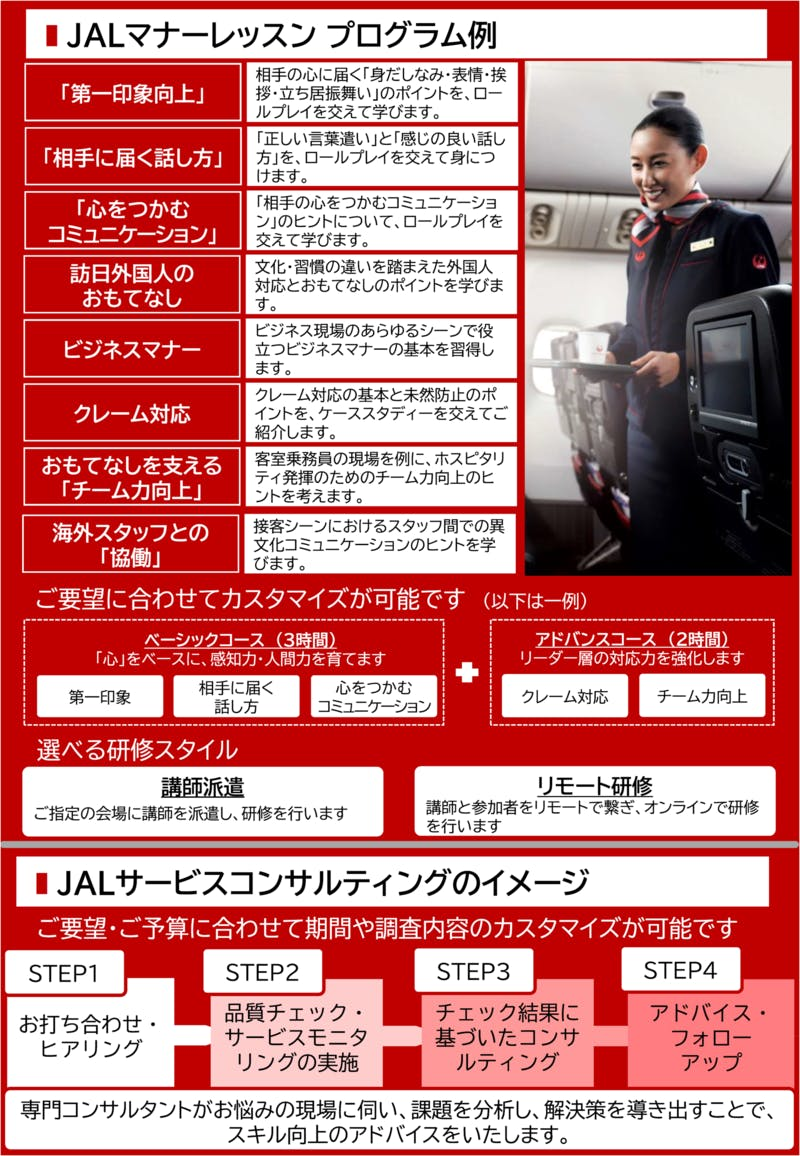 「JALビジネスキャリアサポート」案内パンフレットの一部(イメージ)