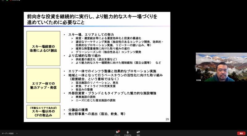 和田氏による魅力的なスキー場づくりに向けての説明を行うスクリーンショット