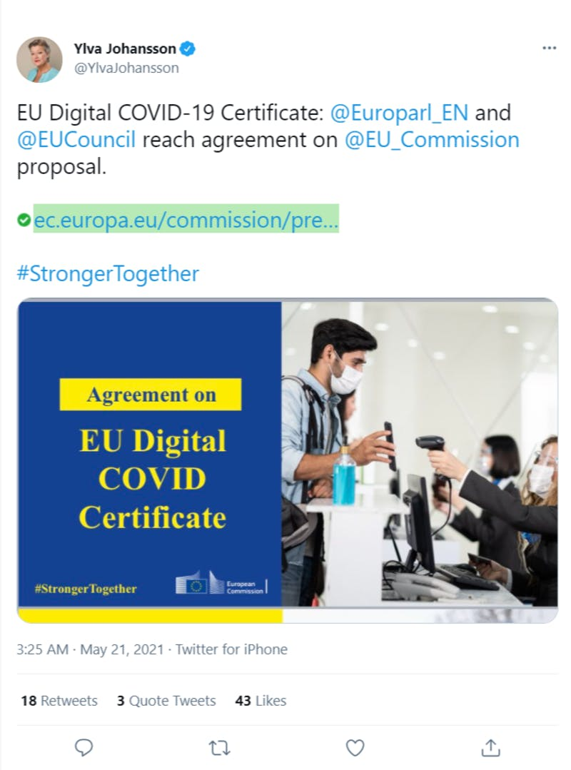 欧州委員会委員Ylva Johansson氏のワクチンパスポートに関するTweetのスクリーンショット